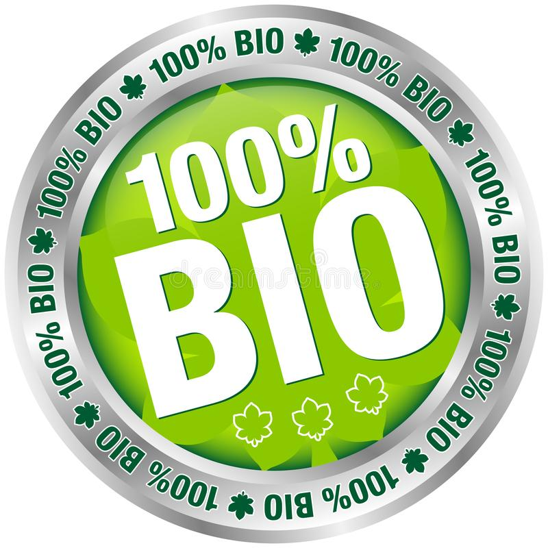 Silver Button 100% BIO Green With Leaf royalty free illustration