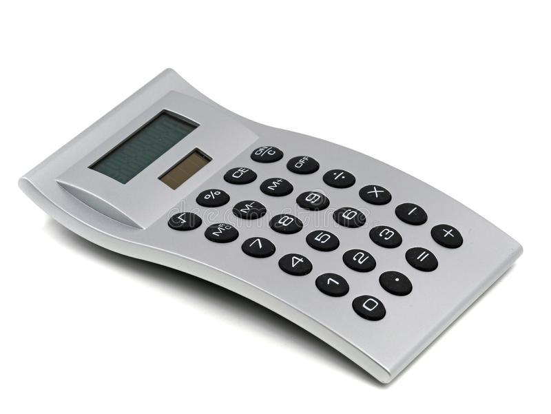 Silver calculator with black buttons isolated on white background stock image