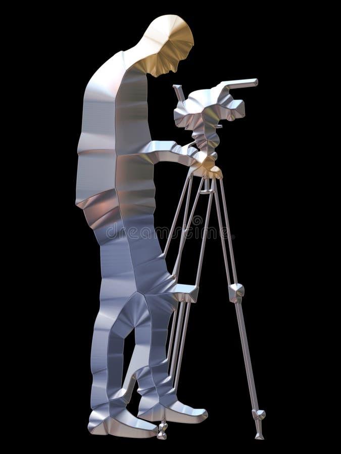 Silver cameraman royalty free illustration