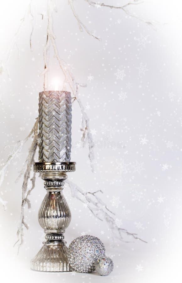 Silver Candle Burning stock image