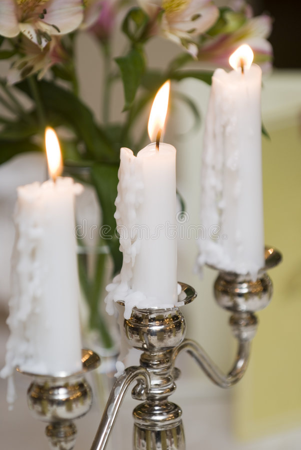 Download Silver candlesticks stock photo. Image of decoration, flame - 7892270