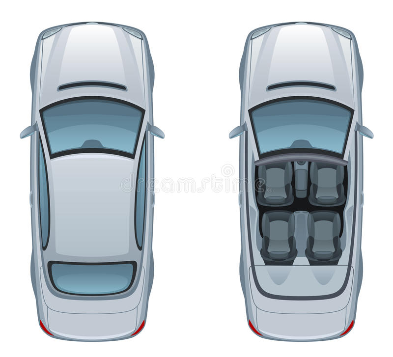 Silver car. Top view of silver car on a white background royalty free illustration