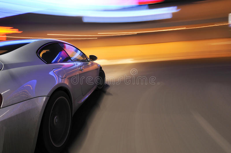 Download Silver Car And Blurry Lights Stock Photo - Image: 15512686