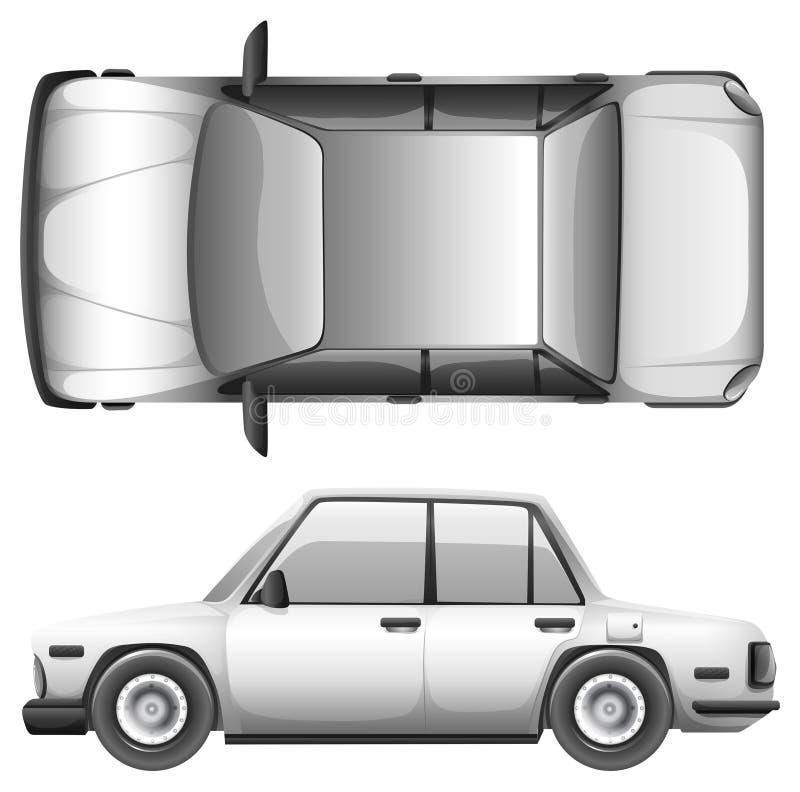 A silver car. A silver sedan car on a white background vector illustration