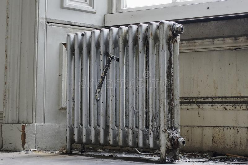 Silver cast iron radiator for salvage royalty free stock photography