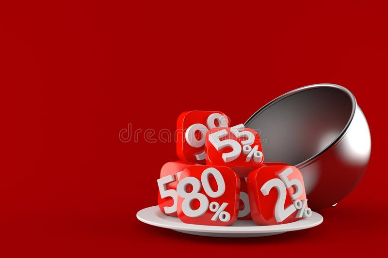 Silver catering dome with percent symbols vector illustration
