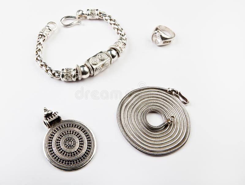 Silver chain Mandala ring bracelet royalty free stock photo