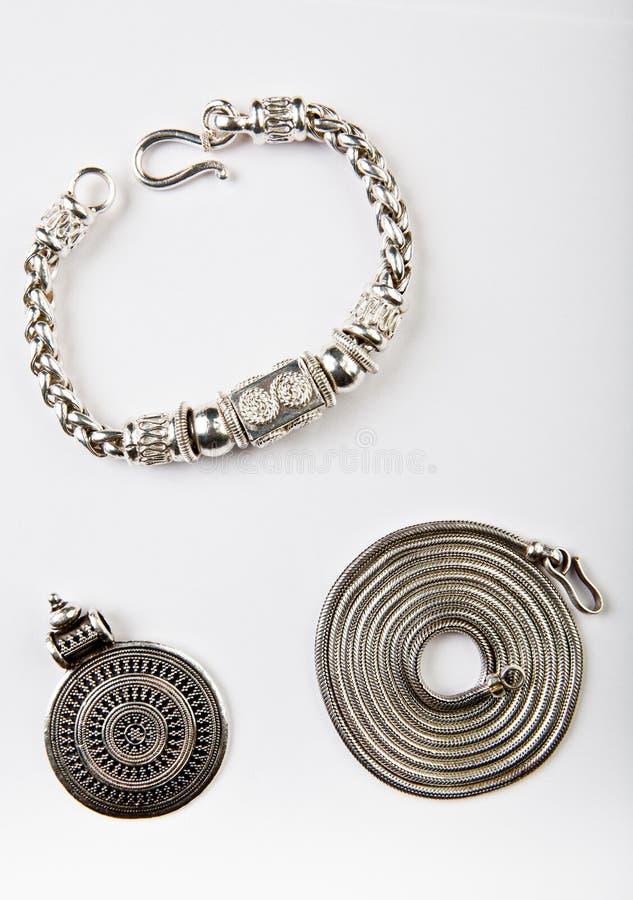 Silver chain Mandala Symbol white background stock photo