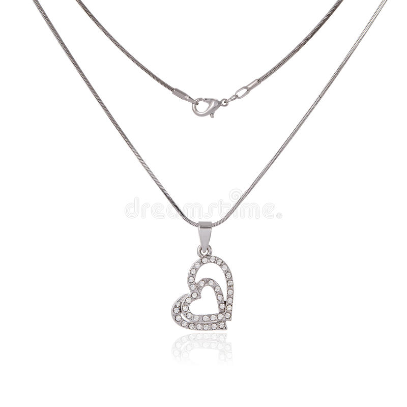 Silver chain and pendant royalty free stock photos