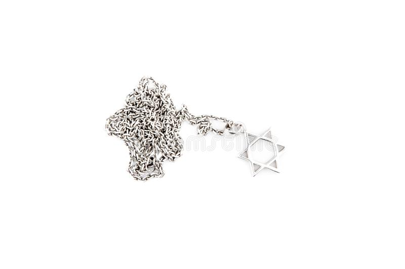Silver chain star white background stock images