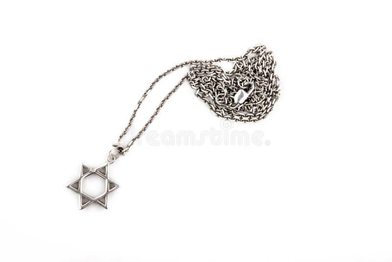 Silver chain star white background stock photo
