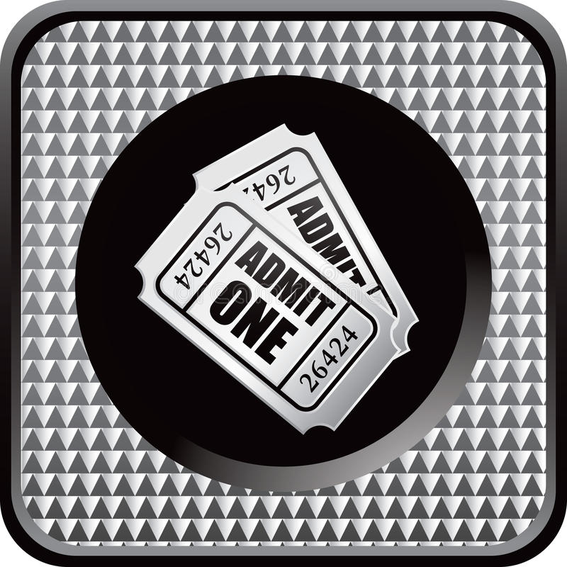 Silver Checkered Web Button Admission Tickets Royalty Free Stock Photography