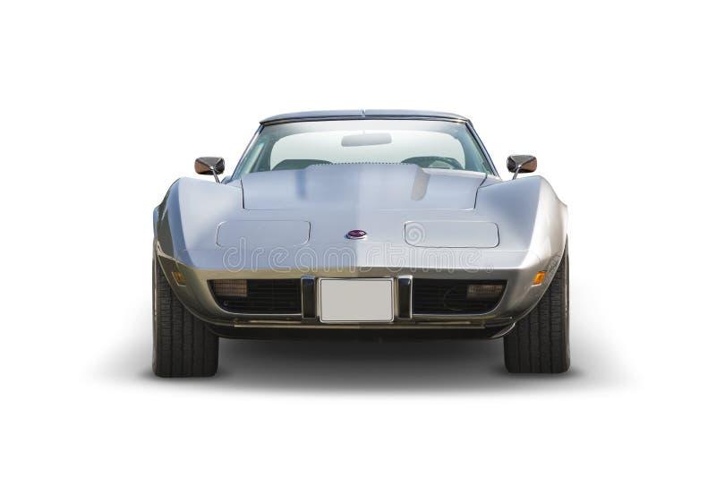 Silver Chevrolet Stingray vooraanzicht geïsoleerd op wit royalty-vrije stock foto