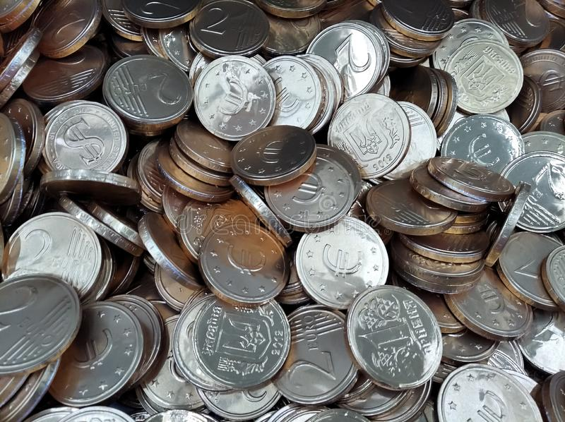 Silver Chocolate Coins stock photography