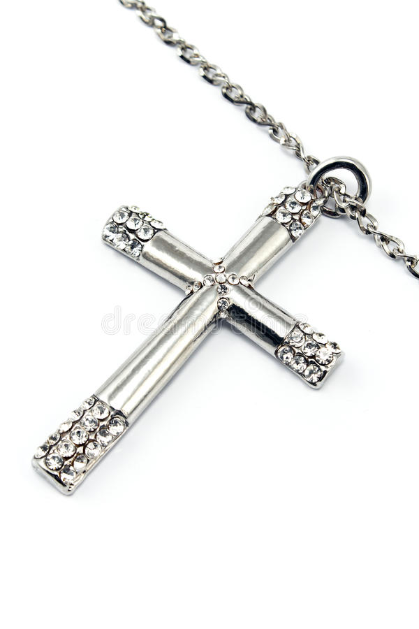 Silver christian cross with small diamonds royalty free stock images