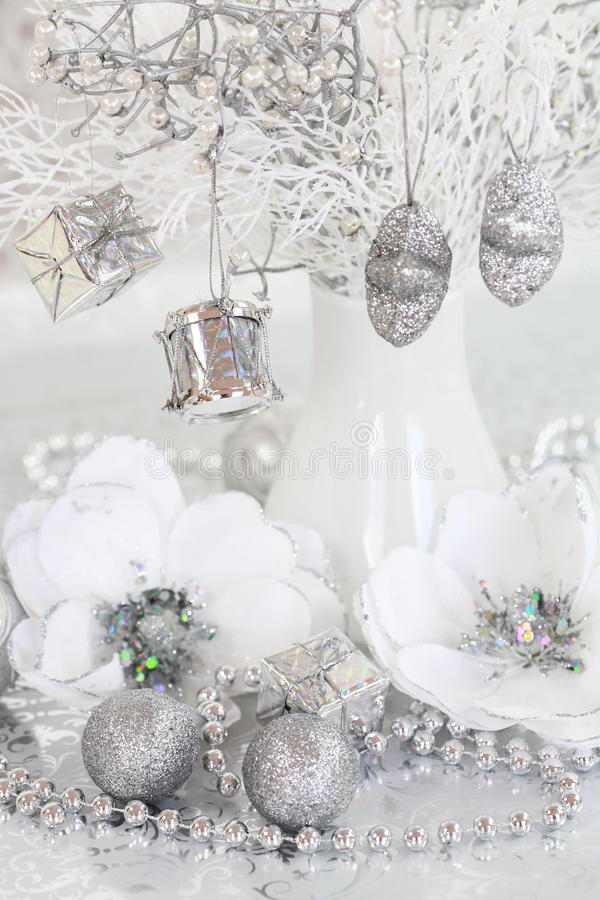 Silver Christmas. Christmas ornaments in silver and white tone stock photo