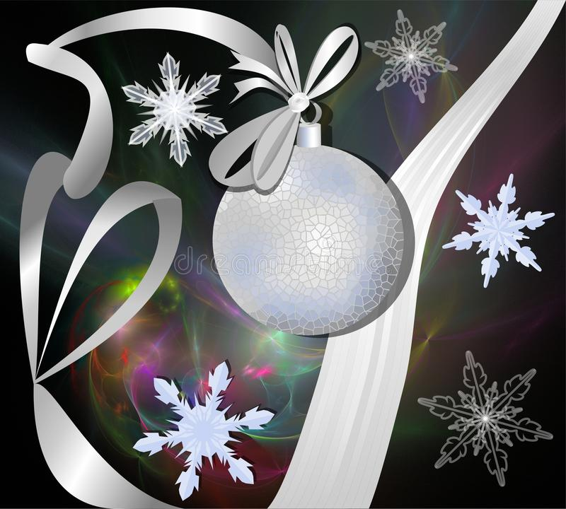 Silver christmas ball with ribbon on fractal background vector illustration