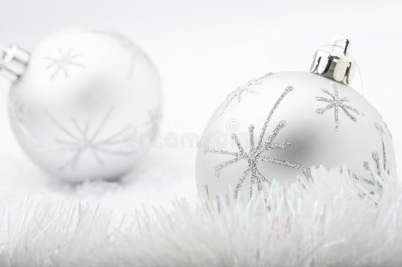 Download Silver Christmas baubles. stock image. Image of snow - 10632395