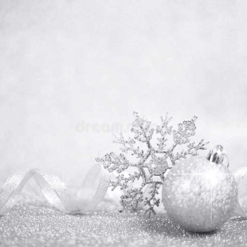 Silver christmas decor stock photos