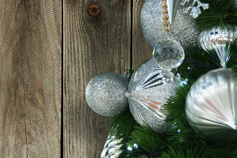 Silver Christmas Decoration Elements on Wood Background stock photography