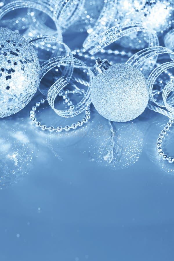 Silver Christmas Decorations Stock Photos