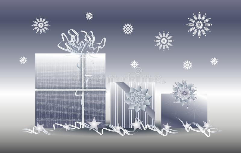 Silver Christmas Gifts Presents Snowflakes royalty free stock images