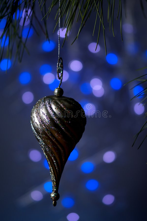 Download Silver Christmas Ornament On A Blue Background Stock Photo - Image: 3561608