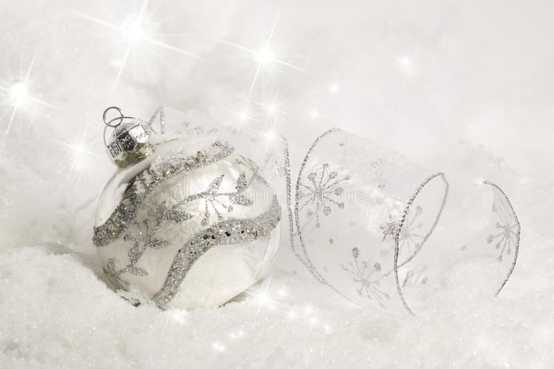 Download Silver Christmas Ornament In Snow Stock Photo - Image: 21815936