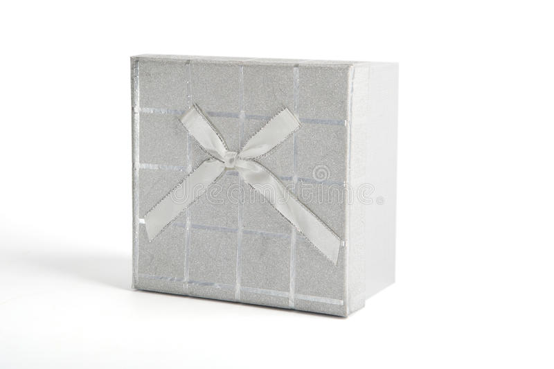 Silver christmas present gift box isolated on white stock image