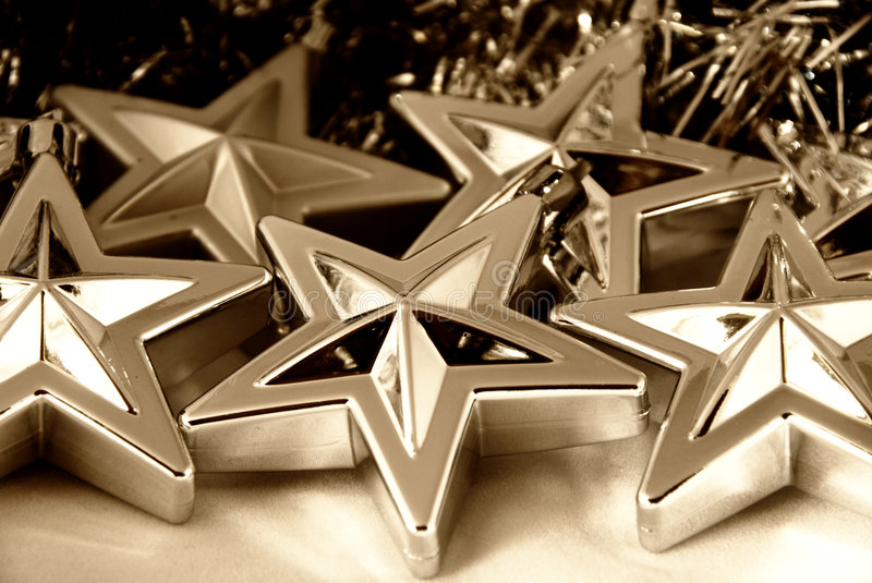 Silver Christmas stars. Decorations - background use royalty free stock images