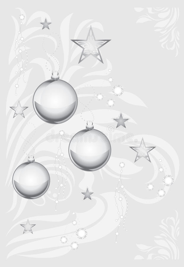 Silver Christmas toys on decorative light gray background stock photography