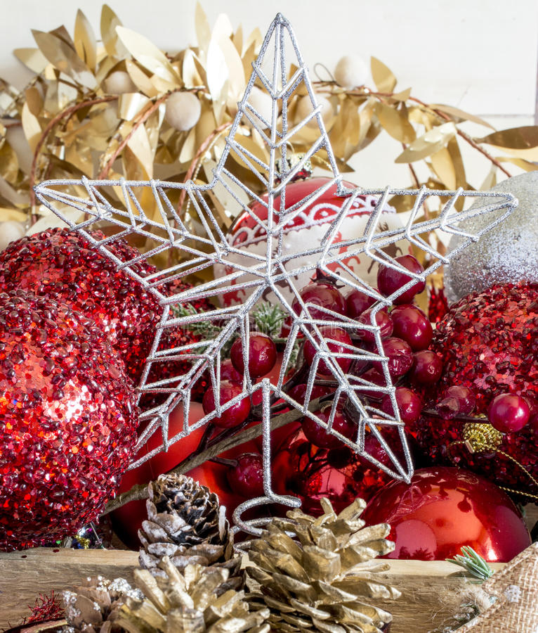 Silver Christmas tree star stock image