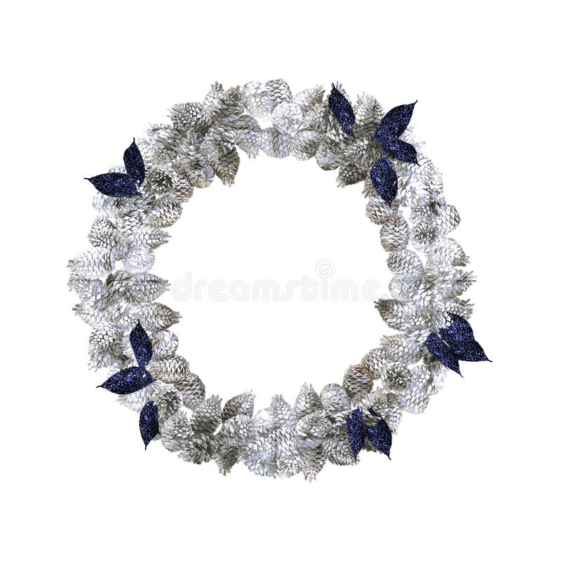 Silver Christmas Wreath With Decorations Isolated On White ...