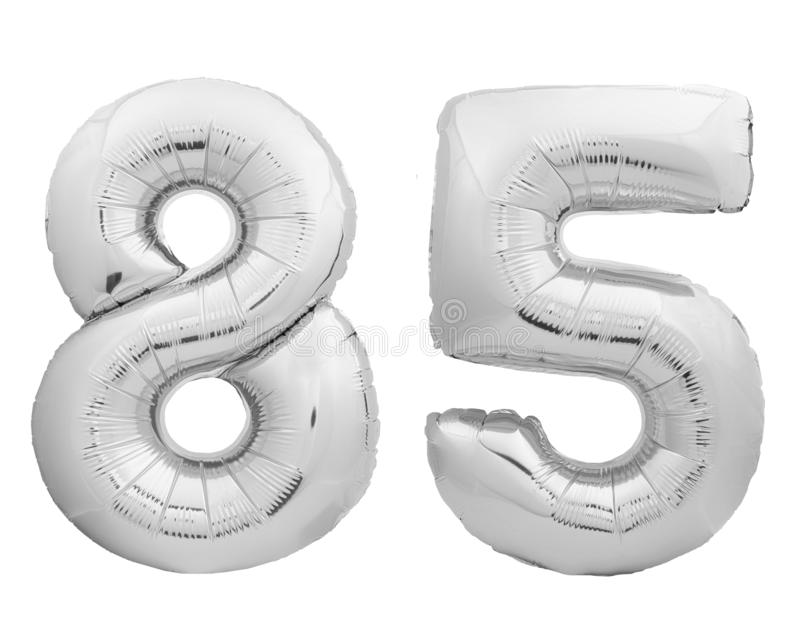 Silver chrome number 84 eighty four made of inflatable balloon on white. Silver chrome number 84 eighty four made of inflatable balloon isolated on white royalty free stock photography