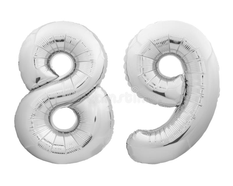 Silver chrome number 89 eighty nine made of inflatable balloon on white. Silver chrome number 89 eighty nine made of inflatable balloon isolated on white royalty free stock photo