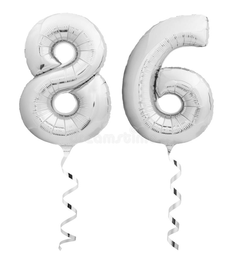 Silver chrome number eighty six 86 made of inflatable balloon with ribbon on white. Silver chrome number eighty six 86 made of inflatable balloon with silver stock photos