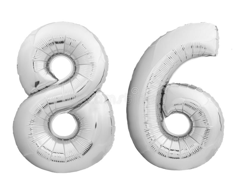 Silver chrome number 86 eighty six made of inflatable balloon on white. Silver chrome number 86 eighty six made of inflatable balloon isolated on white stock photos