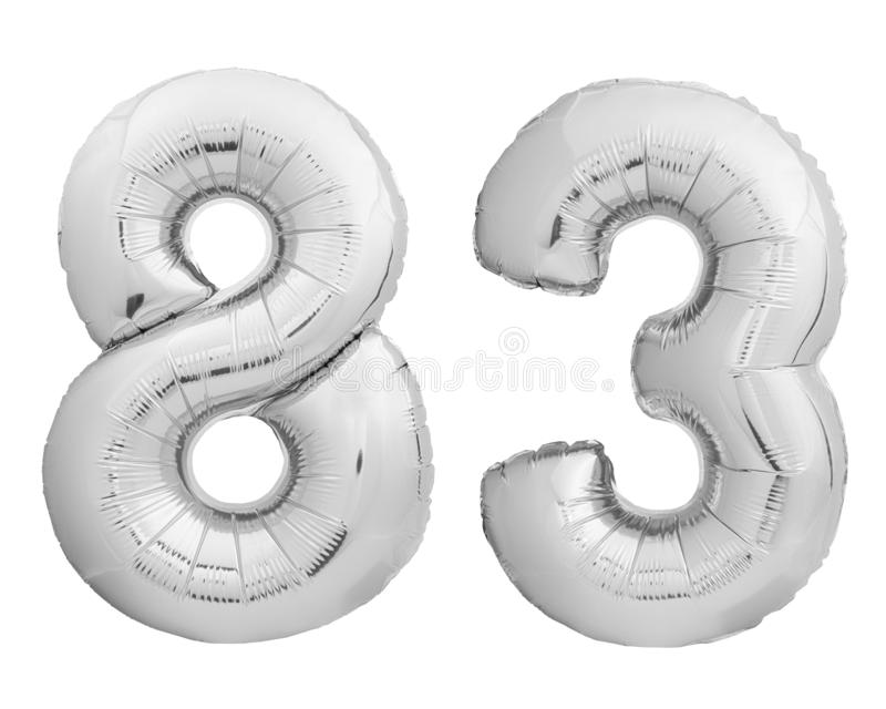 Silver chrome number 83 eighty three made of inflatable balloon on white. Silver chrome number 83 eighty three made of inflatable balloon isolated on white stock images