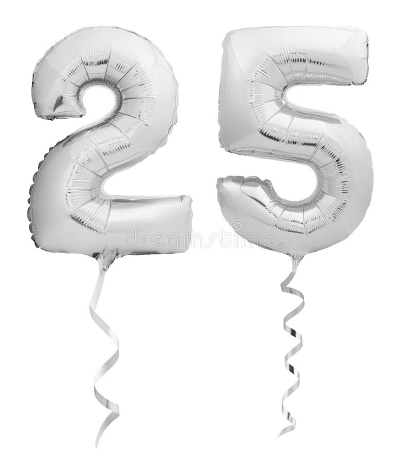 Silver chrome number 25 twenty five made of inflatable balloon with ribbon isolated on white. Background stock image