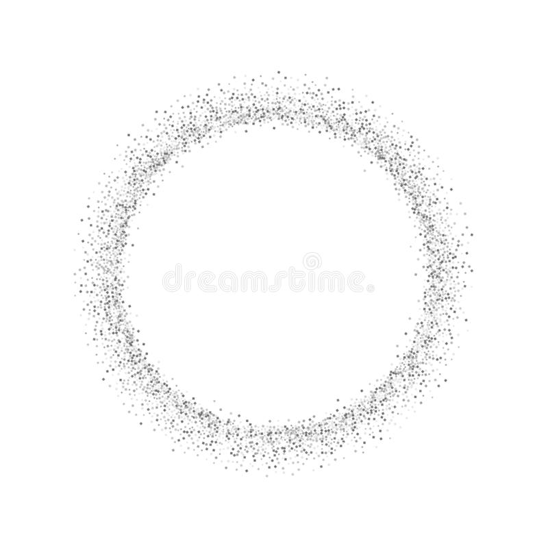 Silver circle isolated white background. Round gray frame, confetti, sparkles and sequins dust. Border design Christmas stock illustration