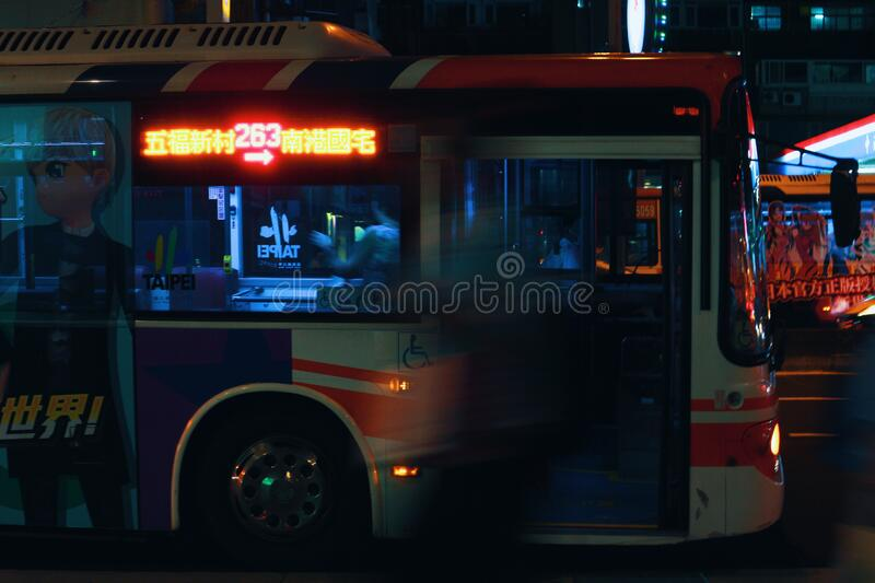 Silver City Bus On A City Street At Night Free Public Domain Cc0 Image