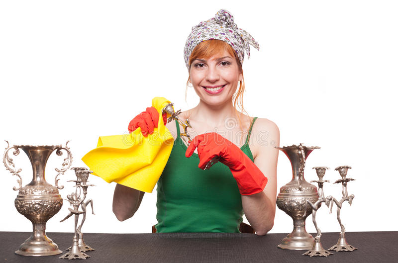 Silver cleaning stock images
