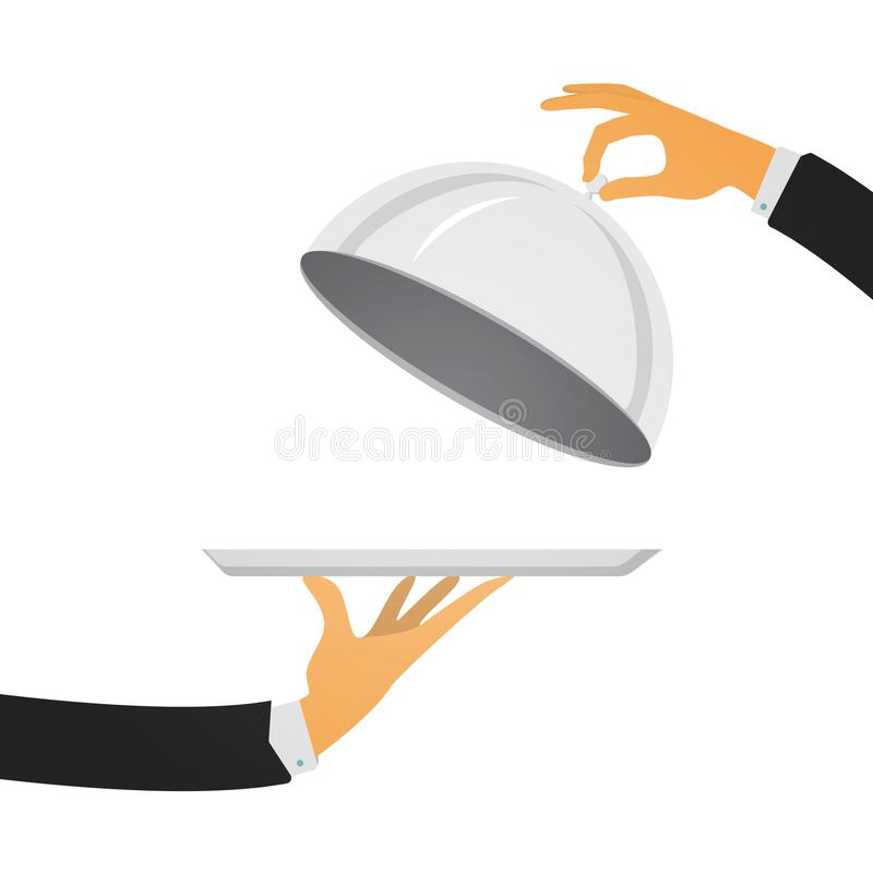 Silver cloche in the hand. Restaurant plate in hands the waiter. Silver cloche in hand. Restaurant plate in elegant waiter hand. Food serving tray. Vector stock illustration