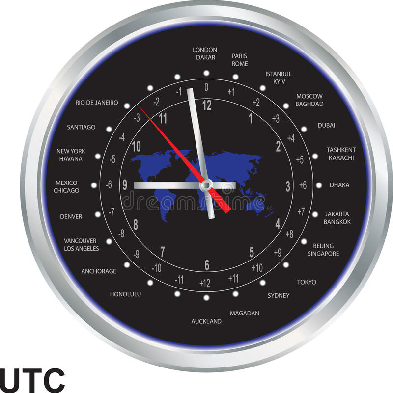 Silver clock with time zones. And map vector illustration