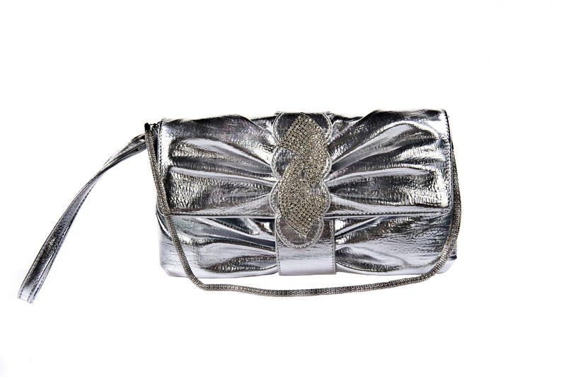 Silver clutch handbag stock image