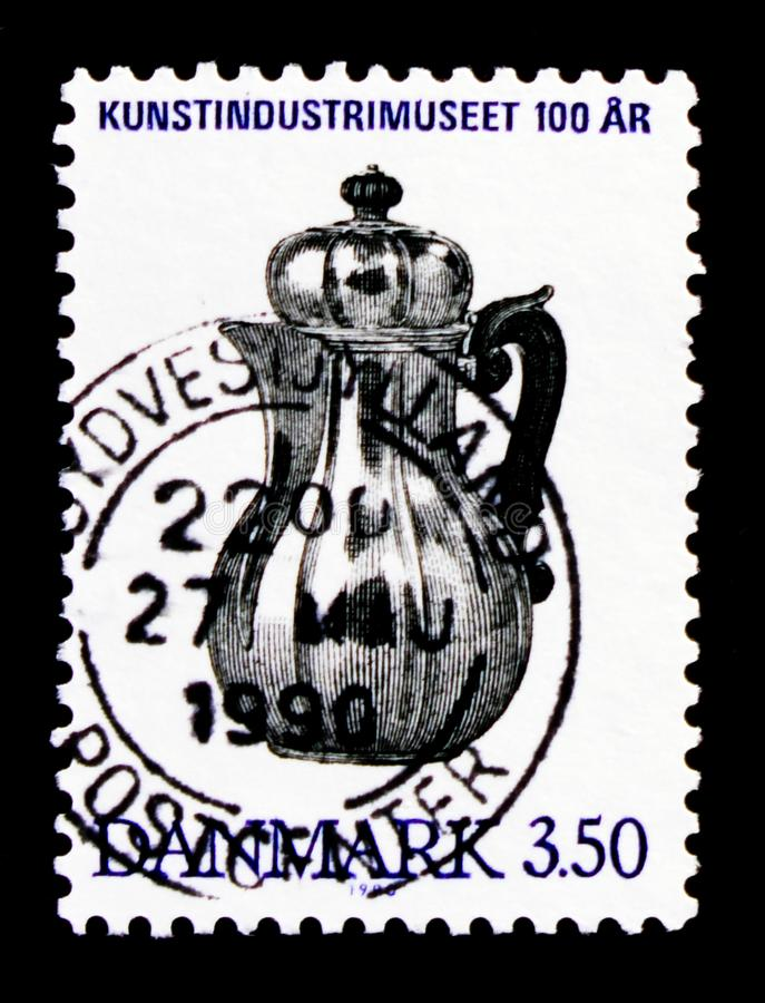 Silver Coffee Pot, 1726, Museum of Decorative Art, Copenhagen - Centenary serie, circa 1990. MOSCOW, RUSSIA - OCTOBER 3, 2017: A stamp printed in Denmark shows royalty free stock images