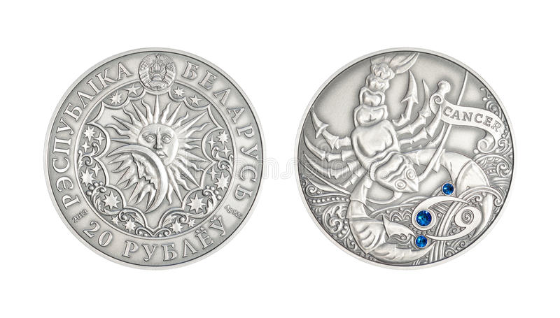 Silver coin Astrological sign Cancer. Silver coin 20 Belarus rubles Astrological sign Cancer royalty free illustration