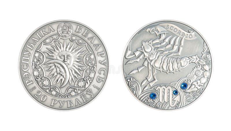 Silver coin Astrological sign Scorpio. Silver coin 20 Belarus rubles Astrological sign Scorpio royalty free stock photography