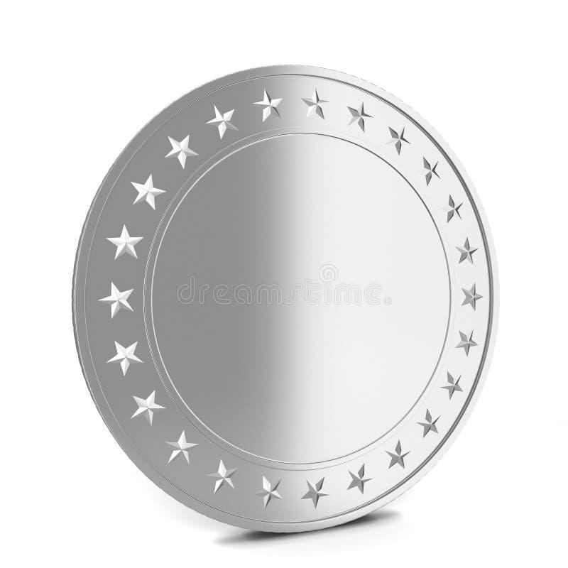 Silver coin. 3d illustration on white background stock illustration