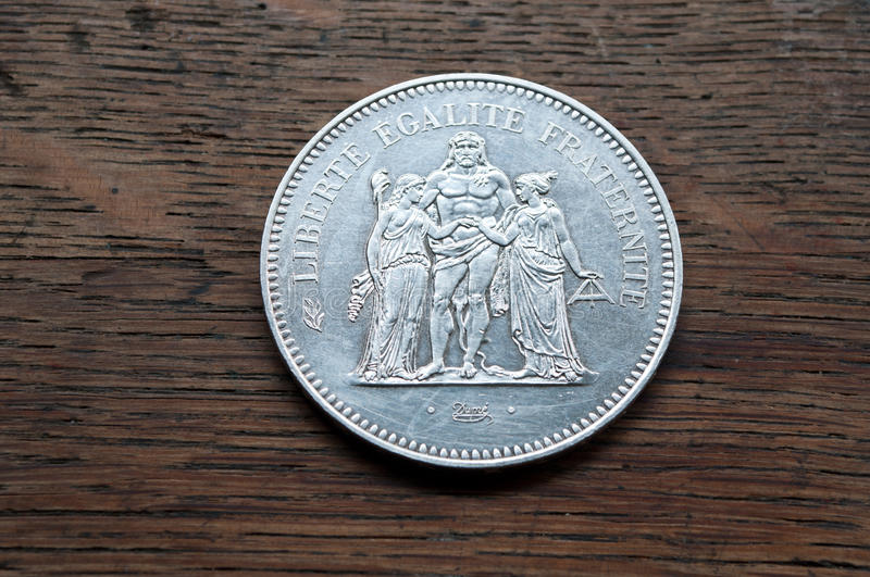 Silver coin of 50 francs stock photo